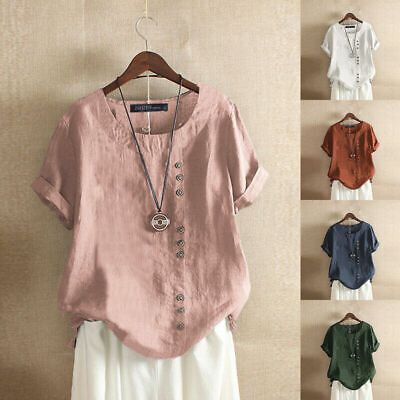 US Womens Short Sleeve Cotton T-Shirt Lady Loose Button Boho Tunic Blouse -