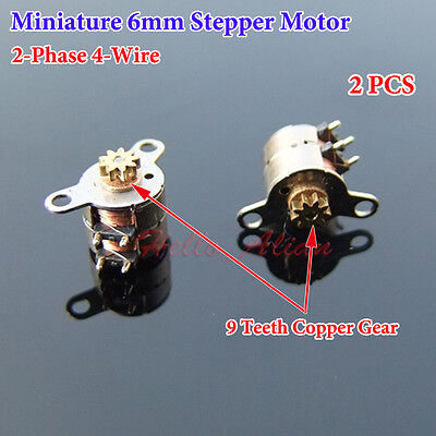 2PCS Miniature 6mm 2-Phase 4-Wire Stepper Motor Micro Stepping Motor Copper Gear ()