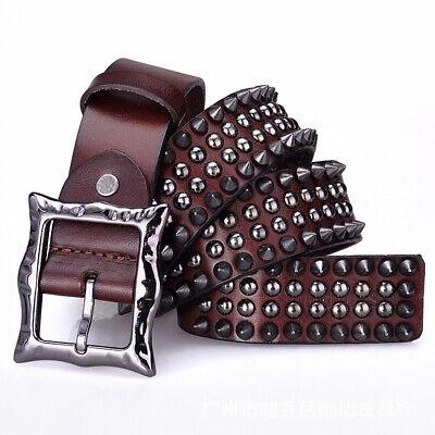 Men Genuine Leather Belt Cool Spike Rivet Studded Fashion Punk Hop -