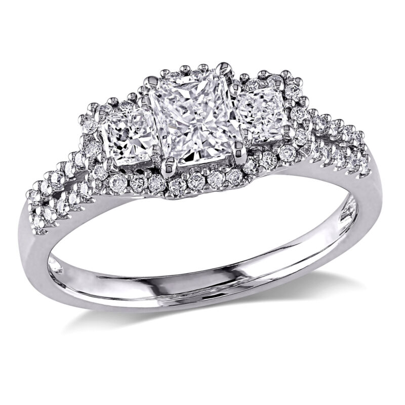 Amour 1 Ct Tw 3-stone Diamond Engagement Ring In 14k White Gold