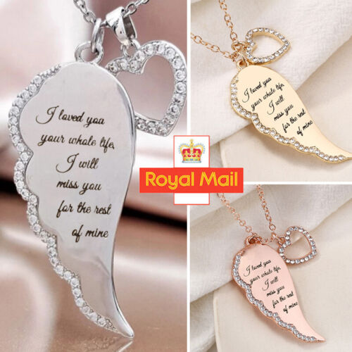 Jewellery - Angle Wings Heart Pendant 925 Sterling Silver Chain Necklace Womens Jewellery UK