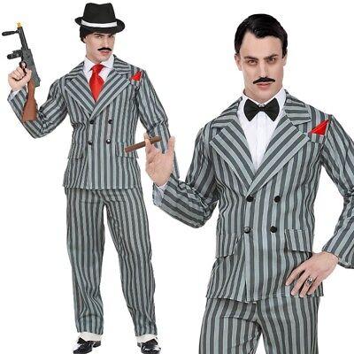 Mafiosi Gangster 2 teil. Anzug L (52) Herren Kostüm grau Nadelstreifen (Gangster Anzug)
