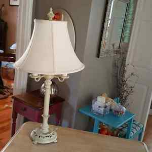 Antique lamp and table