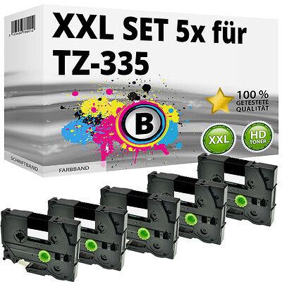 5x Farbband für Brother P-Touch 1000 1010 1080 1090 1230 PC1250 1280 TZ-335