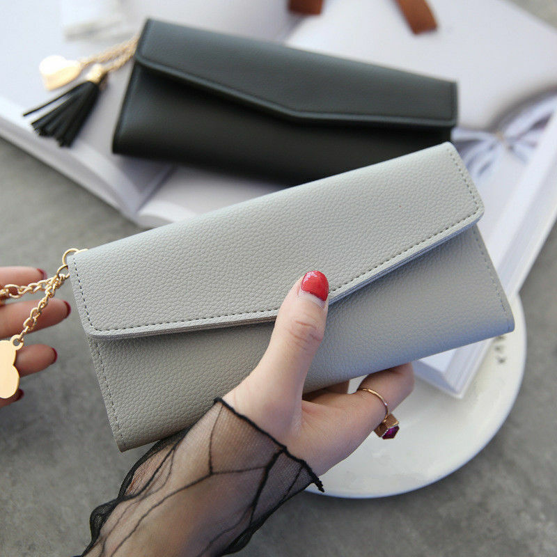 Women Long Leather Wallet Envelope Clutch Card Holder Trifold Purse Handbag US Clothing, Shoes & Accessories
