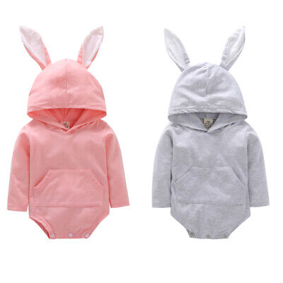 Newborn Infant Baby Girl Boys Easter Bunny Hooded Romper Bodysuit Outfit Sunsuit