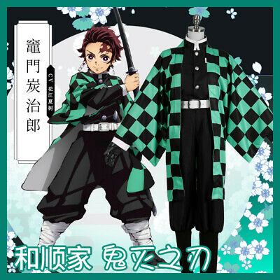 Anime Demon Slayer: Kimetsu no Yaiba Kamado Tanjirou Cosplay Costume Kimono Suit - Demon Slayer Costume