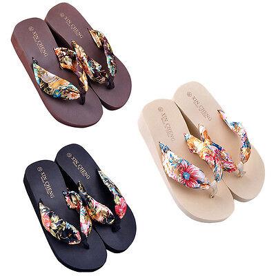 Hot Bohemia Floral Beach Sandals Wedge Platform Thongs Slippers Flip Flops Gift