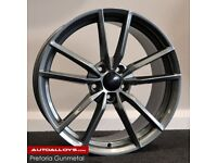 "18"" Pretoria (Gunmetal) Style alloy wheels and tyres (5x112) Suits most VW,SEAT AUDI A3 ETC"