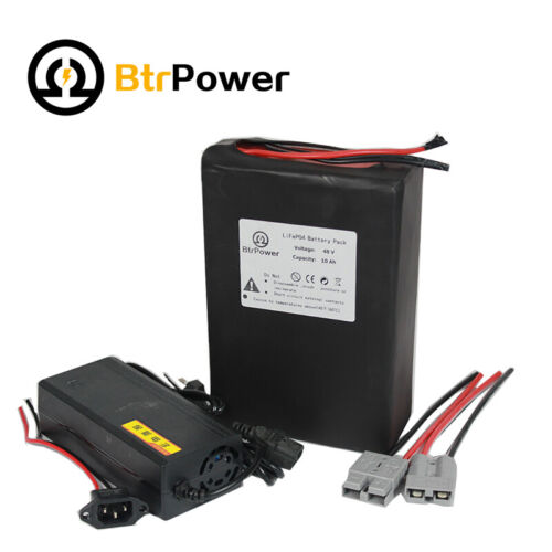 BtrPower 48V 10Ah Lithium lifepo4 Battery Pack for Electric Scooter 500W Motor