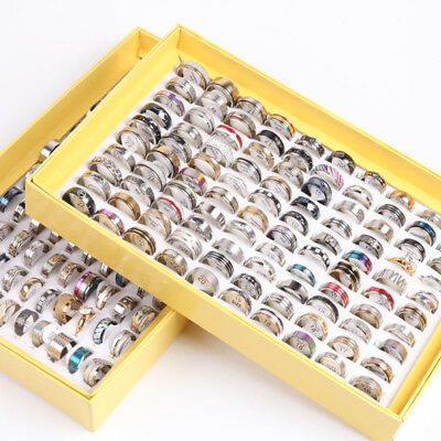 WHOLESALE 100x STAINLESS STEEL Women MEN'S Wedding RINGS Fashion Party bags gift