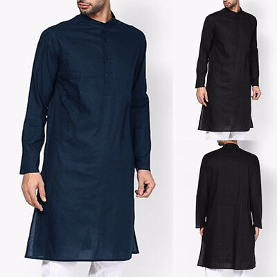 INCERUN India Men kurta T-shirt Tunic Casual Long Sleeve Button Top T-shirt