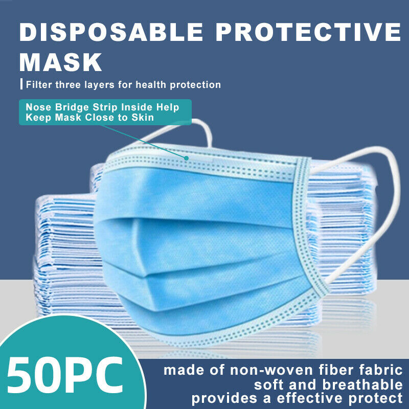 [50 Pcs] 3-Ply Disposable Face Mask Non Medical Surgical face  MOUTH COVER