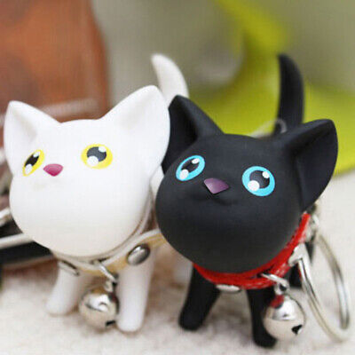 Lovely Cat Kitten Keychain Keyring Bell Toy Lover Key Chain Rings For Handbag