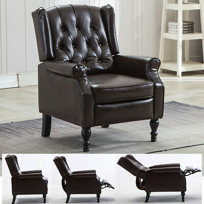 Elizabeth Leather Recliner Chair Tufted Back for Living Room with Padded Seat