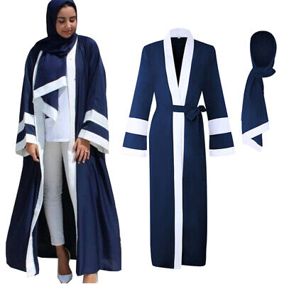 Dubai Arab Womens Long Sleeve Abaya Muslim Maxi Kaftan Robe Dress Islamic Jilbab