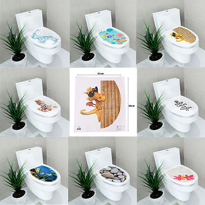 Decoration For Toilet (NEW 3D Toilet Seats Wall Stickers Bathroom Decal Vinyl Art Mural Home)