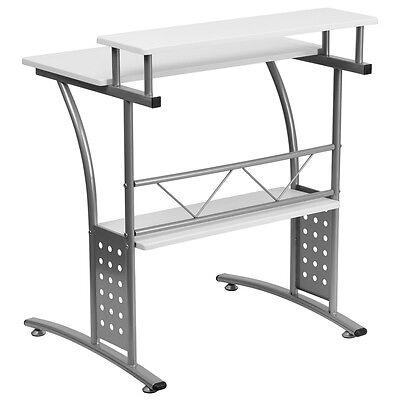 Clifton White Computer Desk Raised Top Shelf