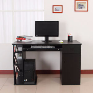 Computer Desk PC Workstation Table with Storage Shelves Drawer
