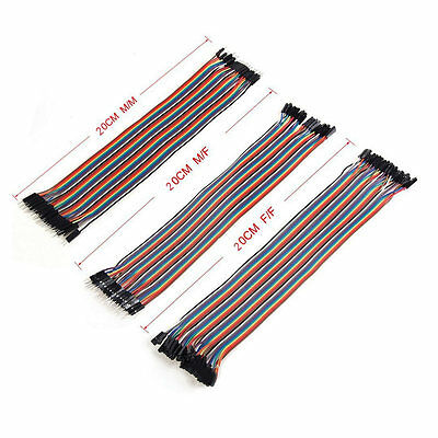 3x40pcs Kit 20cm 2.54mm Male To Female Dupont Wire Jumper For Arduino Breadboard