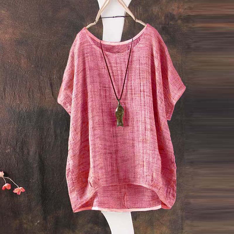 Übergröße Damen Sommer Vintage Freizet Baggy Baumwolle Leinen T-Shirt Oberteile