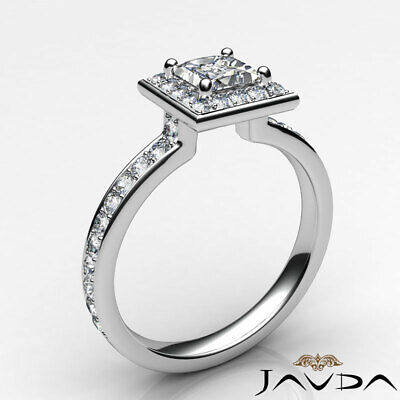 Halo Cathedral Micro Pave Princess Cut Diamond Engagement Ring GIA F SI1 0.95Ct 8