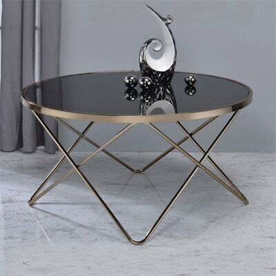 ACME Valora Coffee Table in Black Glass and Champagne