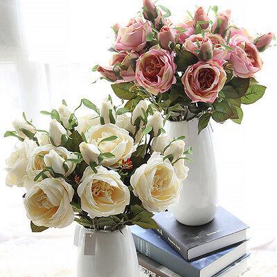 Realistic Artificial Rose Bridal Bouquet Silk Leaf Flower Wedding Home Decor