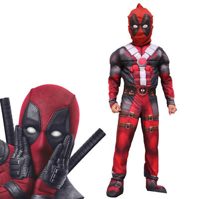 Deluxe Boys Marvel Deadpool Muscle Kids Halloween Party Costume