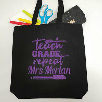 Teacher Tote Bag Glittered Print - Grade & Repeat - Thank You Gift