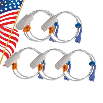 5xadult Finger Clip Ds-100a Fit For Nellcor 7pins 1m Spo2 Sensor Probe Oximax Us