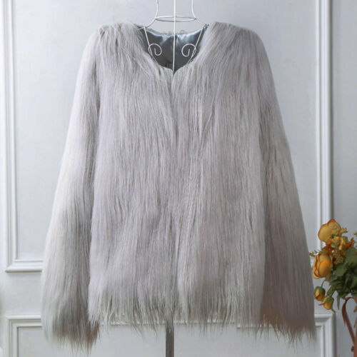 Luxury Women's Winter Faux Fur Warm Jacket Coat Shaggy Cardigan Tops Outerwear 5