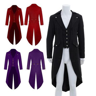 Gotisch Lang Frack Kostüm Steampunk Zirkusdirektor Herrenmantel Karneval 3 Farbe