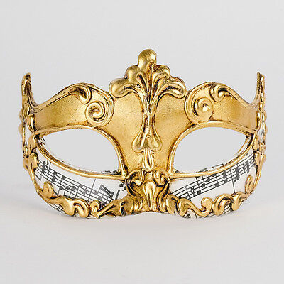 Mask from Venice Wolf Colombine Symphony Gold Authentic Paper Mache 2210