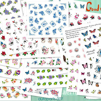 50 Sheets Mixed Flower Water Transfer Nail Stickers Decals Art Tips Decoration