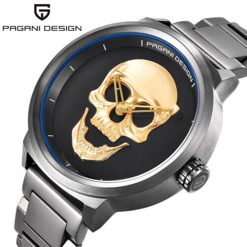 Luxury Mens PAGANI DESIGN Punk 3D Skull Quartz Solid Stainless Steel Wrist Watch
