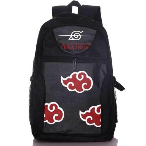 Uzumaki Hokage Sasuke Akatsuki Red Clouds Leaf Laptop Backpack Casual School Bag
