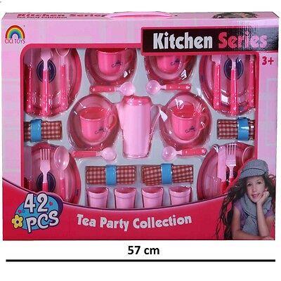 42tlg Party Service Kinder Geschirr Puppenservice Spielküche Tee Service  #755