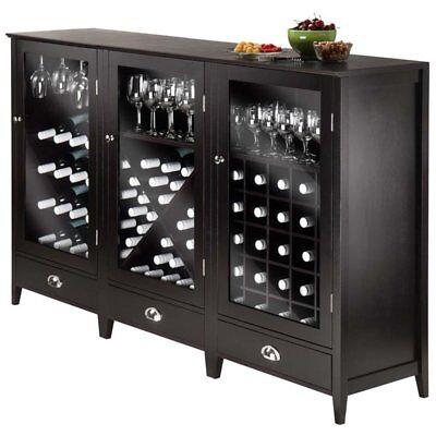 Winsome Bordeaux 3 Piece Modular Wine Rack Cabinet Set in Espresso ()