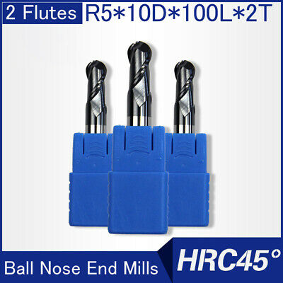 Hrc45 2flutes R5 Solid Carbide Ball Nose End Mills L 100mm
