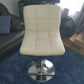 White faux leather bar stool