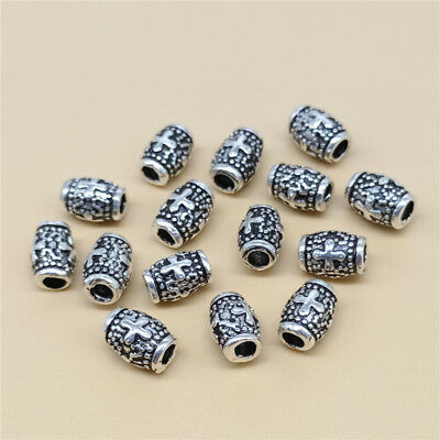 10 Sterling Silver Cross Barrel Beads 925 Sterling Silver Bulk Cross Tubes