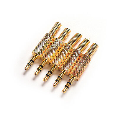 "10Pcs 3.5mm 1/8"" Stereo Male Audio THV Gold Plated Jack Plug Adapter ConnectorHV"