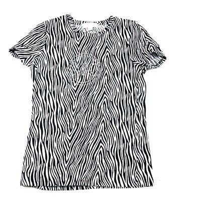 Michael Kors Womens M Zebra Tee Shirt T-Shirt Embellished Logo Black White