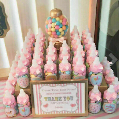 Baby Party Decorations (24 Fillable Bottles for Baby Shower Favors Blue Pink Party Decorations Girl)