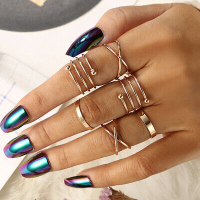 6pcs/Set Women Gold Plated Ring Midi Knuckle Top of Finger Rings Jewelry Gift UK
