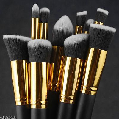 10Pcs Beauty Makeup Brushes Tool Set Black Cosmetic Face Powder Foundation Brush