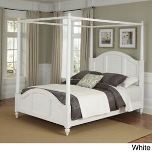 BRAND NEW HOME STYLES BERMUDA QUEEN SIZE WHITE CANOPY BED FRAME