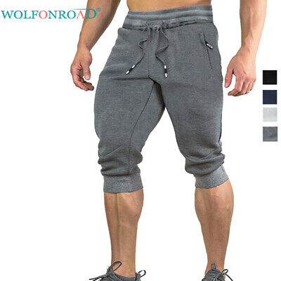 Mens Cotton Shorts Jogger Sweatpants Summer Running Gym Pants Sports Trousers