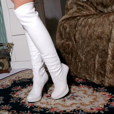 Weiß Elegant Stilettos Super High Heels Kniehohe Stiefel Schlupf  Damen Stiefel